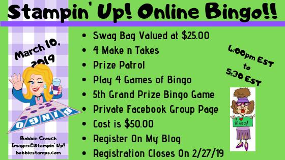 Stampin' Up! Online Bingo - Bobbie Stamps