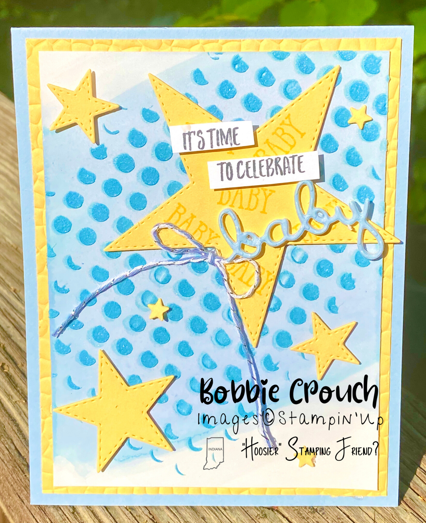 Stitched Stars Baby Shower Card
